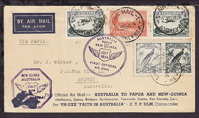 Australia New Guinea 1934 Special Flight Airmail Cover Multiple Stamps Cancels