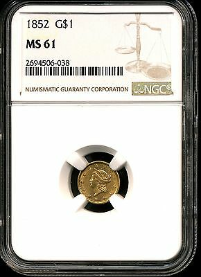 1852 G$1 Liberty Gold Dollar MS61 NGC 2694506-038
