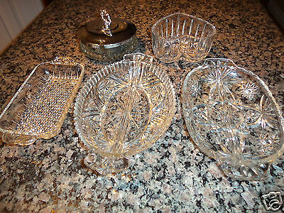6 PC Pressed Glass Divided Serving Buffet Dishes Relish,Sweets,Sugar,Appetizers