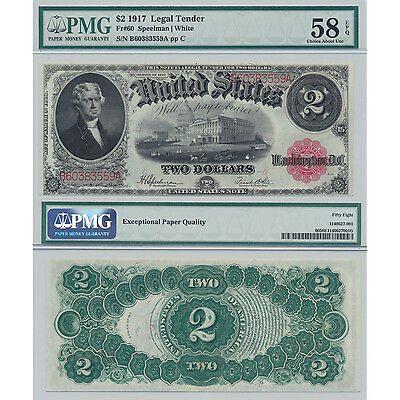 1917 $2 Fr#60 Legal Tender PMG Certified Choice About UNC 58 EPQ US Large Size