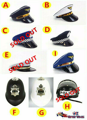 Adult Hat Police Officer Captain Pilot Navy Sailor Costume Party Fancy Dress