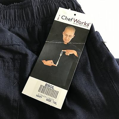 Chef Works Navy Pants Mens 7XL Elastic Waist Draw String Kitchen Cook Bake BSOL