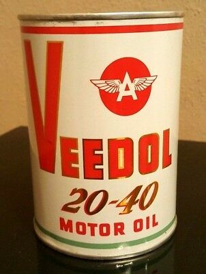 VEEDOL 20-40 MOTOR OIL CAN -- FLYING A -- Tidewater Associated -- FULL MINT 1 qt