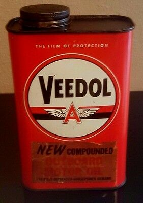VEEDOL FLYING A Outboard MOTOR OIL CAN - 1 Quart one qt ... Tidewater Associated
