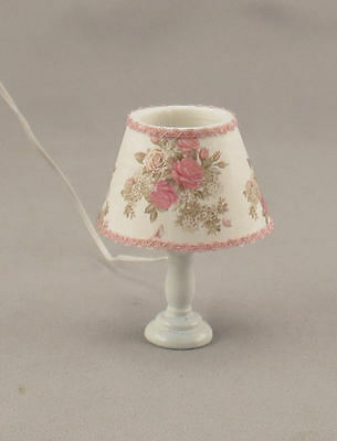 Dollhouse Miniature Light Pink Floral Table Lamp Lighted Shabby Chic miniholiday