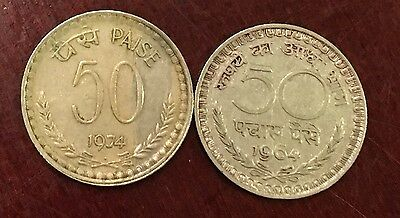 1962 / 1974  India 50 PAISE COINs