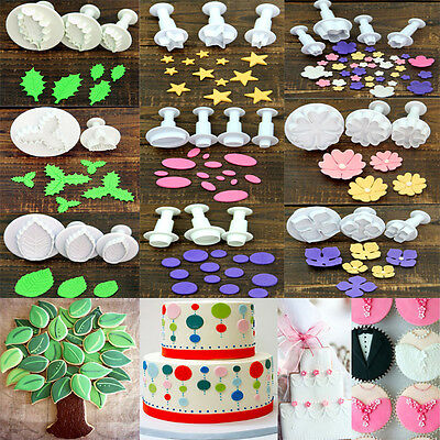 3Pcs Plunger Cookie Cutter Biscuit Pastry Cake Decorating Sugarcraft Mould Tools