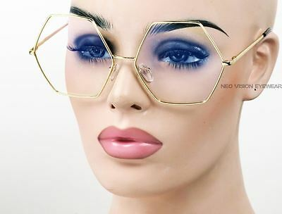 Oversized Metal Hexagon Vintage Style Glasses Gold Frame Clear Lens 264