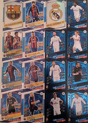 Match Attax 2016/17 Champions League Barcelona And Real Madrid Cards