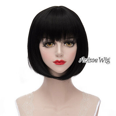 Lolita Black Short 30CM Fashion Women Party Bob Cosplay Wig + Wig Cap