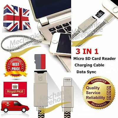 MicroSD Memory Card Reader USB Charger Adapter Cable For iPad iPhone 6/S 7 Plus