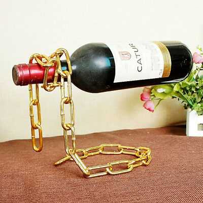 Wine Bottle Floating Magic Chain Holder Champagne Illusion Rack Stand Golden