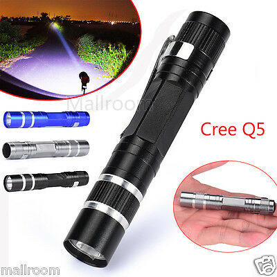 Mini 1200LM High Power Torch Cree Q5 LED Tactical Flashlight AA Taschenlampe DE
