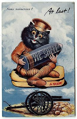 Louis Wain Signed .at Last.we Shell.a Mascot.canon .chat Chats Cats Cat Katze