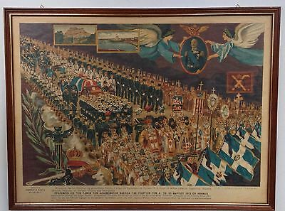 Rare Chromolithography Funeral March to the grave of King George I Athens 1913