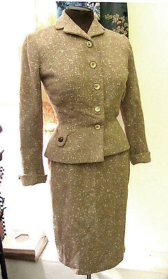 Vintage 50s HATTIE CARNEGIE Fitted Femme Tweedy Wool Skirt Suit