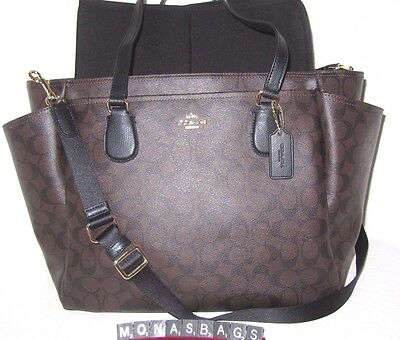 Coach Baby Diaper Tote Bag Signature PVC Brown & Black F35414 New NWT $495