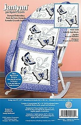 Butterfly Quilt Blocks Stamped Embroidery Kit Janlynn
