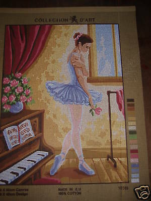 Ballerina Tapestry Needlepoint Canvas Dancer Dancing Needlepoint Craft