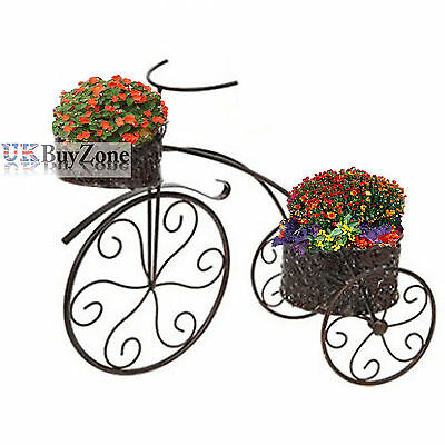 Metal Tricycle Planter Flower Plant Stand Garden Bike Ornament Patio Decoration