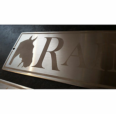 Stainless Steel Sandblasted Stable Door Horse Name Plaque Plate Sign for yard