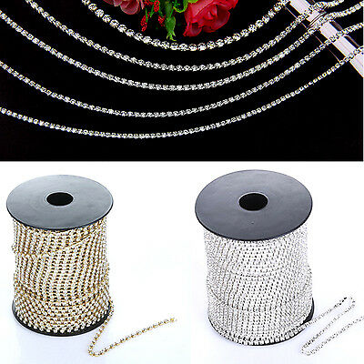 Newly Clear Crystal Glass Rhinestone Compact Close Silver Chain Trims Applique