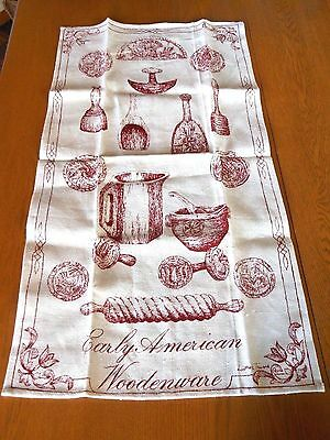 Vtg Red New Luther Travis Fallani Cohn Woodenware Linen Kitchen Dish Towel Cloth