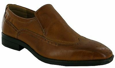 Mens New Slip On Brogues Smart Wedding Dress Suit Formal Tan Shoes Size 6-11