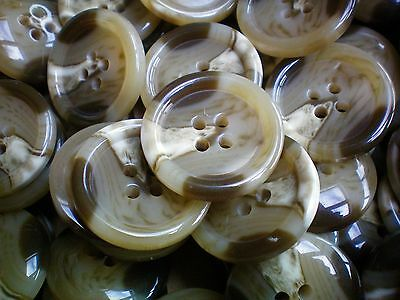 Large 25mm 40L Light Brown Natural Cream Pattern 4 Hole Coat Jacket Buttons W216