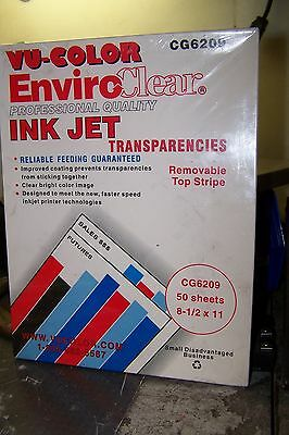 NEW VU-COLOR CG6209 INK JET Transparencies 50 sheets 8 1/2 x 11