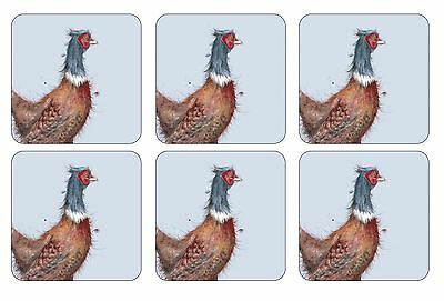 Set Of 6 Pheasant Cork Backed Heat Resistant Coasters 10.5 X 10.5 X 0.5Cm