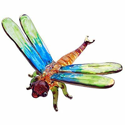 LOVELY DRAGONFLY HAND BLOWN Collectible Figurines CLEAR GLASS ART DRAGONFLY