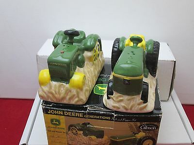 John Deere Ceramic Salt & Pepper Shakers Tractor Farm Gibson 2003 NIOB