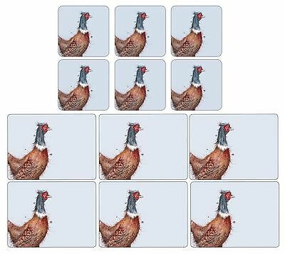 Set Of 6 Pheasant Cork Backed Heat Resistant Placemats & Coasters