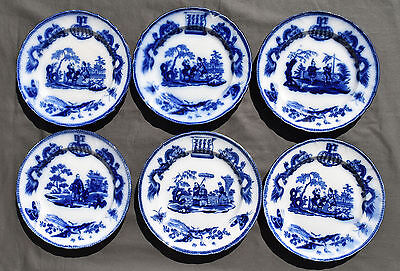 6 Assiettes Plates En Faience Bordeaux Vieillard Decor Chinois Dragons Tonkin