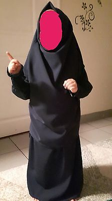 Muslim baby abaya khimar long hijab set with skirt  blue,pink,green,purple,black