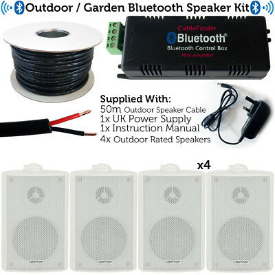 Garden Party/BBQ Outdoor Speaker Kit–Wireless Mini Stereo Amp & 4 White Speakers