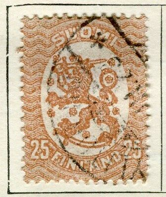 FINLAND;   1917-20s early definitive type fine used 25p. value