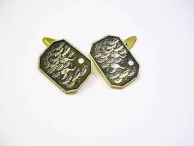 Vintage Cufflinks Gold Plate Black Enamel Hand Etched Amita Japan Cuff Links