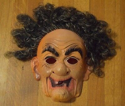 Vintage Vacuform Plastic Mask Creepy Scary Old Man Guy with Hair Halloween
