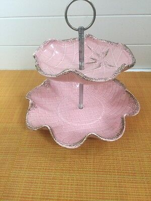 VINTAGE 50s CAL STYLE USA 275 Pink 2 TIER COOKIE TIDBIT DISH