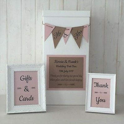 personalised WEDDING CARD POST BOX twine BUNTING Gifts & Cards SIGNS Dusky Pink