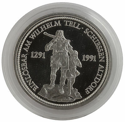 1987 - 1oz Platinum Swiss Shooting Thaler (William Tell & Son) Coin .999 Fine