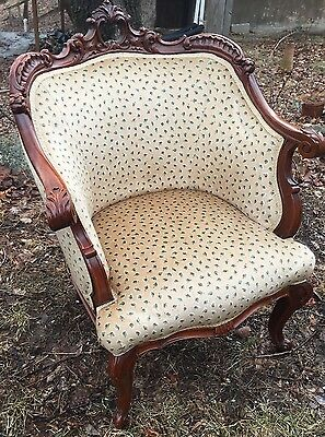Antique Arm Chair Cirica 1910  French Louis 15 Heavy Carved Frame