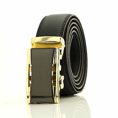 Automatic belt Black & gold steel buckle with black genuine leather waist band