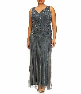 Pisarro Nights  Beaded Party Wedding Mother of Bride plus size 22W  Dress Gown