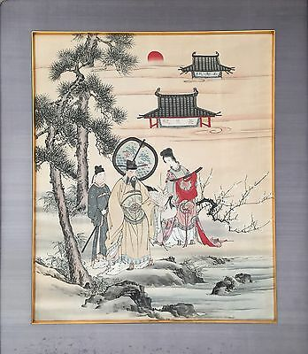Antique / Vintage Chinese Ink Brush Painting With Thread Embroidery On Silk
