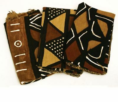 "Authentic Bambara Mudcloth 63"" x 45"" Fabric African Mali Mud Cloth - 4 Colors"