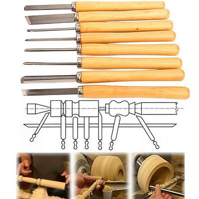 8pc HSS Wood Lathe Turning Tool Chisel Set Gouge Skew Parting Spear Carving Tool