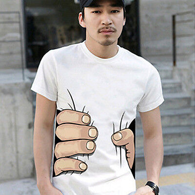 Men Summer 3D Big Hand Print Round Neck Short Sleeve White T-shirt Gift Ideal
